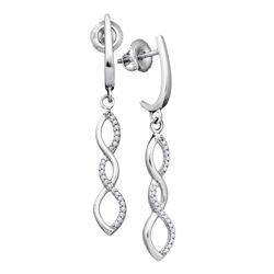 1/8 CTW Womens Round Diamond Infinity Dangle Earrings 10kt White Gold - REF-19A2M