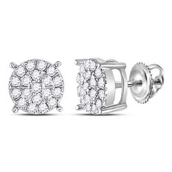 3/8 CTW Womens Round Diamond Cluster Earrings 10kt White Gold - REF-32A7M