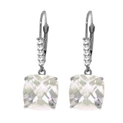 Genuine 7.35 ctw White Topaz & Diamond Earrings 14KT White Gold - REF-57Z3N