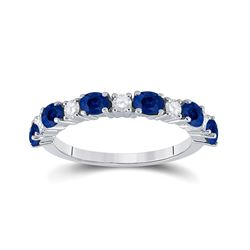 1 & 1/2 CTW Womens Oval Blue Sapphire Diamond Alternating Band Ring 10kt White Gold - REF-40X8T