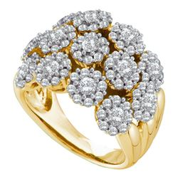 2 & 1/5 CTW Womens Round Diamond Flower Cluster Ring 14kt Yellow Gold - REF-204T5V