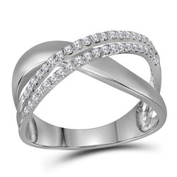 3/8 CTW Womens Round Diamond Crossover Band Ring 10kt White Gold - REF-32H7R