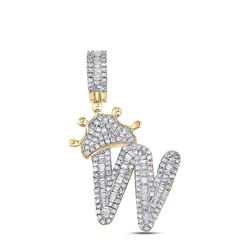 7/8 CTW Mens Baguette Diamond Crown W Letter Charm Pendant 10kt Yellow Gold - REF-43A6M