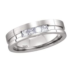 1/2 CTW Mens Princess Channel-set Diamond Single Row Wedding Band Ring 14kt White Gold - REF-109R3X
