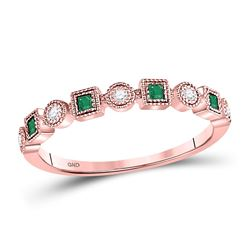 1/8 CTW Womens Princess Emerald Diamond Square Dot Stackable Band Ring 10kt Rose Gold - REF-17T6V