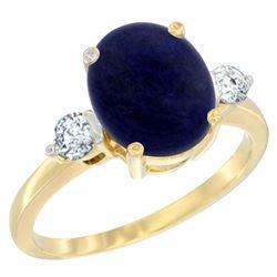 2.70 CTW Lapis Lazuli & Diamond Ring 14K Yellow Gold - REF-67A2X
