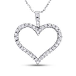 1/2 CTW Womens Round Diamond Timeless Heart Outline Pendant 14kt White Gold - REF-46X3T