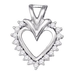 1/4 CTW Womens Round Diamond Heart Pendant 10kt White Gold - REF-24A5M