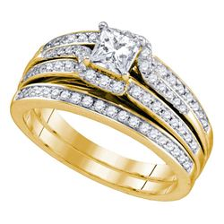 1 CTW Princess Diamond Bridal Wedding Ring 14kt Yellow Gold - REF-204R5X