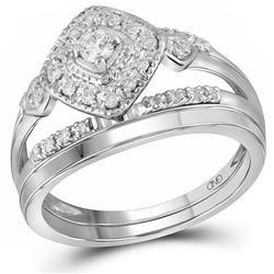 1/3 CTW Round Diamond Bridal Wedding Ring Band Set 10kt White Gold - REF-51R2X