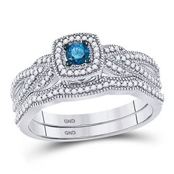 3/8 CTW Womens Round Blue Color Enhanced Diamond Bridal Wedding Ring 10kt White Gold - REF-44X2T