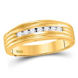 1/4 CTW Mens Round Diamond Wedding Band Ring 10kt Yellow Gold - REF-42H8R