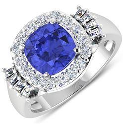 Natural 2.83 CTW Tanzanite & Diamond Ring 14K White Gold - REF-115X3K