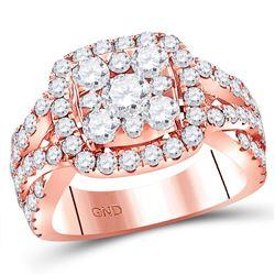 3 CTW Round Diamond Cluster Bridal Wedding Engagement Ring 14kt Rose Gold - REF-313T5V
