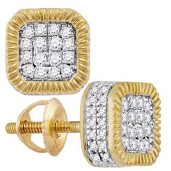 3/4 CTW Mens Round Diamond Fluted Square Cluster Stud Earrings 10kt Yellow Gold - REF-53T3V