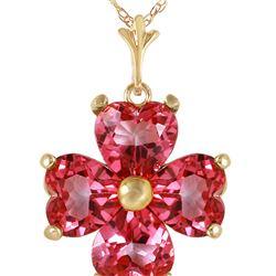 Genuine 3.8 ctw Pink Topaz Necklace 14KT Yellow Gold - REF-43Z2N