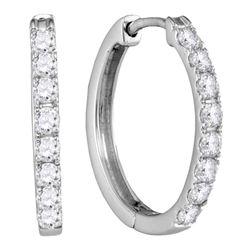 1/2 CTW Womens Round Diamond Single Row Hoop Earrings 10kt White Gold - REF-37X5T