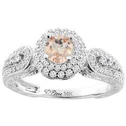 0.94 CTW Morganite & Diamond Ring 14K White Gold - REF-90V3R