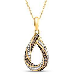 1/4 CTW Womens Round Brown Diamond Teardrop Stripe Pendant 10kt Yellow Gold - REF-21F8W