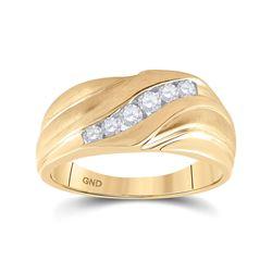 1/3 CTW Mens Round Diamond Wedding Band Ring 10kt Yellow Gold - REF-49Y6N