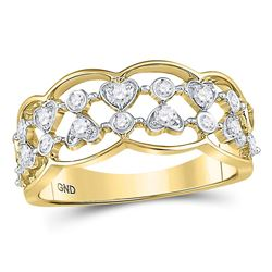 1/3 CTW Womens Round Diamond Double Row Heart Dot Band Ring 14kt Yellow Gold - REF-38N2A