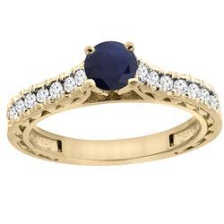 0.90 CTW Blue Sapphire & Diamond Ring 14K Yellow Gold - REF-72M9A