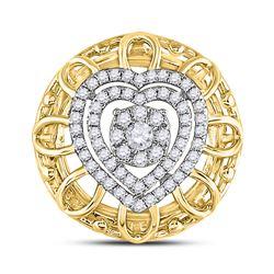 1/3 CTW Womens Round Diamond Filigree Heart Pendant 14kt Two-tone Gold - REF-39M5F