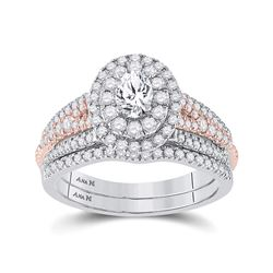 1 CTW Oval Diamond Bridal Wedding Ring 14kt Two-tone Gold - REF-143Y2N