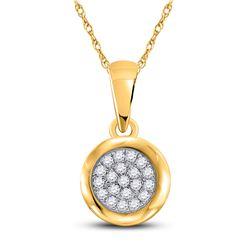 1/6 CTW Womens Round Diamond Cluster Pendant 10kt Yellow Gold - REF-16W4H