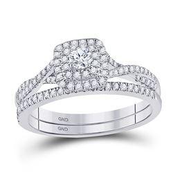 1/2 CTW Round Diamond Bridal Wedding Ring Band Set 10kt White Gold - REF-42H2R