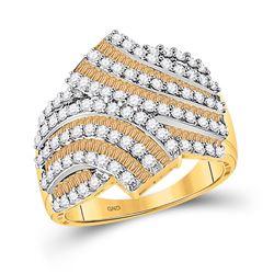 1 & 3/4 CTW Womens Baguette Brown Diamond Bypass Band Ring 14kt Yellow Gold - REF-115X3T