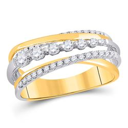 1/2 CTW Womens Round Diamond Graduated Crossover Band Ring 14kt Yellow Gold - REF-57Y3N