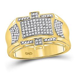 1/2 CTW Mens Round Diamond Rectangle Cluster Ring 10kt Yellow Gold - REF-76A9M