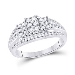 1/2 CTW Womens Round Diamond Cluster Ring 10kt White Gold - REF-49H6R