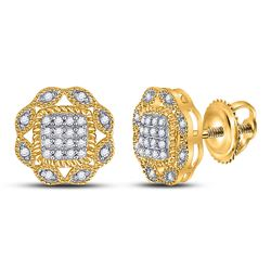 1/6 CTW Womens Round Diamond Octagon Cluster Earrings 10kt Yellow Gold - REF-16V4Y