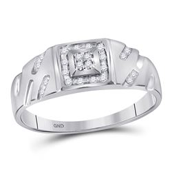 1/8 CTW Mens Round Diamond Square Cluster Ring 10kt White Gold - REF-22N5A