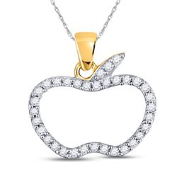 1/5 CTW Womens Round Diamond Apple Outline Fashion Pendant 10kt Rose Gold - REF-9N5A