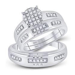 1/3 CTW His Hers Round Diamond Cluster Matching Wedding Set 10kt White Gold - REF-68H2R