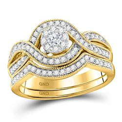 1/2 CTW Round Diamond Bridal Wedding Ring 10kt Yellow Gold - REF-81A8M