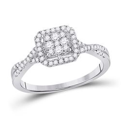 1/2 CTW Womens Round Diamond Square Cluster Ring 10kt White Gold - REF-51X8T