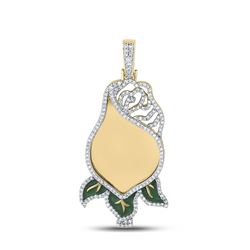 1 CTW Mens Round Diamond Rose Flower Mirror Charm Pendant 10kt Yellow Gold - REF-114M5F
