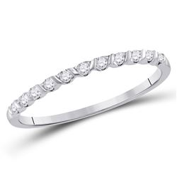 1/6 CTW Womens Round Diamond Single Row Stackable Band Ring 10kt White Gold - REF-14N2A
