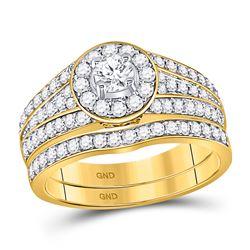 1 CTW Diamond EGL Round Bridal Wedding Ring 14kt Yellow Gold - REF-119A2M