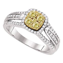 3/4 CTW Round Yellow Diamond Cluster Bridal Wedding Engagement Ring 14kt White Gold - REF-104W4H