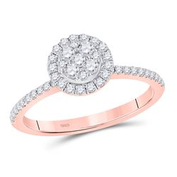 1/2 CTW Womens Round Diamond Circle Cluster Ring 14kt Rose Gold - REF-49F3W