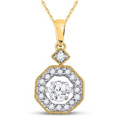 1/3 CTW Womens Round Diamond Moving Twinkle Solitaire Pendant 10kt Yellow Gold - REF-31N4A