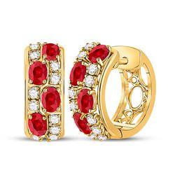 2 & 1/4 CTW Womens Oval Ruby Fashion Hoop Earrings 14kt Yellow Gold - REF-102F3W