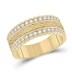 3/4 CTW Mens Round Diamond Wedding Band Ring 14kt Yellow Gold - REF-122V6Y