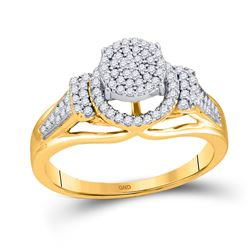 1/3 CTW Womens Round Diamond Cluster Ring 10kt Yellow Gold - REF-27H3R