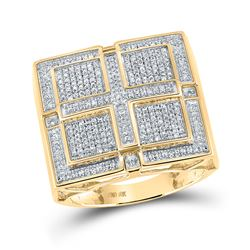 1/2 CTW Mens Round Pave-set Diamond Square Cross Cluster Ring 10kt Yellow Gold - REF-101W3H